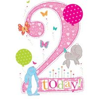 2 Today Cute Rabbits And Balloons Birthday Card, Large Size By Moonpig