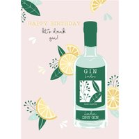 Illustrated Fruity Lets Drink Gin Card, Standard Size By Moonpig