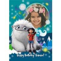 Universal Abominable Yeti Personalised Photo Upload Birthday Card, Large Size By Moonpig
