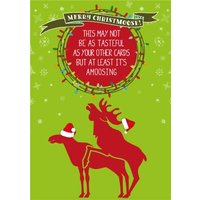 Animal Crackers Two Moose Amoosing Funny Christmas Card, Standard Size By Moonpig