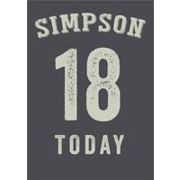 Grey Personalised Happy 18th Birthday Card, Standard Size By Moonpig