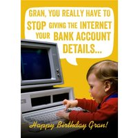 Funny Birthday Card For Gran - Typography Love, Giant Size By Moonpig