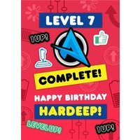 Ali A Level 7 Complete Up Gaming Happy Birthday Card, Giant Size By Moonpig