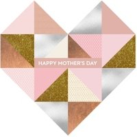 Mother's Day Card - Geometric Heart Rose Gold, Giant Size By Moonpig