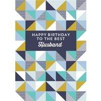 Husband Geometric Birthday Card, Standard Size By Moonpig