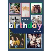 Happy Birthday Card - Multiple Photo Upload Card, Large Size By Moonpig
