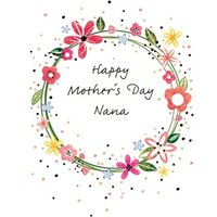 Floral Wreath Personalised Mother's Day Nana Card, Standard Size By Moonpig