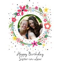 Floral Wreath Personalised Happy Birthday Sister-in-law, Standard Size By Moonpig