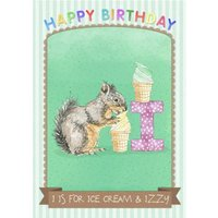 Pinstriped I Is For Ice Cream And Personalised Name Birthday Card, Giant Size By Moonpig