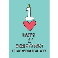 Wonderful Wife 1st Anniversary Card, Large Size By Moonpig