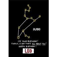 Angela Chick Leo Zodiac Constellation Birthday Card, Standard Size By Moonpig