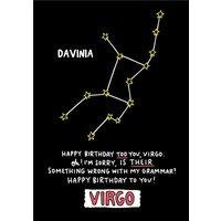 Angela Chick Virgo Zodiac Constellation Birthday Card, Standard Size By Moonpig
