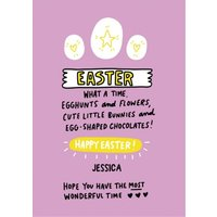 Angela Chick Egghunts Bunnies Flowers Chocolates Happy Easter Card, Large Size By Moonpig