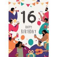 Anoela Party Illustration 16 Happy Birthday Card, Giant Size By Moonpig