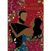 Anoela Floral Couple Illustration Happy Anniversary Card, Standard Size By Moonpig