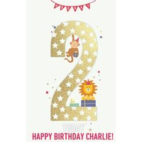 Hooray Two Today Kids Animal Birthday Card, Giant Size By Moonpig
