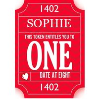 One Date At 8 Token Personalised Text Card, Large Size By Moonpig