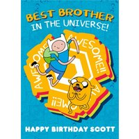 Adventure Time Best Brother In The Universe Happy Birthday Personalised Card, Large Size By Moonpig