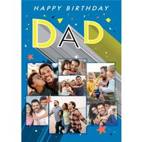 Axel Bright Graphic Happy Birthday Dad Multi Photo Upload Card, Large Size By Moonpig