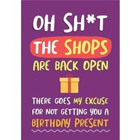 There Goes My Excuse For Not Getting You A Birthday Present Card, Giant Size By Moonpig