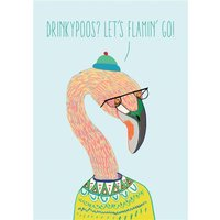 Funny Flamingo Drinky Poos Let's Flamin' Go Card, Standard Size By Moonpig