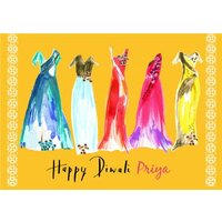 Bright Watercolour Dresses Personalised Happy Diwali Card, Giant Size By Moonpig