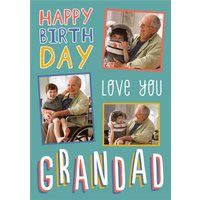 Big Bold Type Typographic Grandad Birthday Photo Upload Card, Giant Size By Moonpig