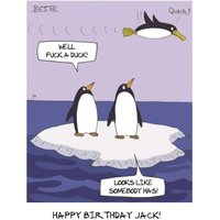 Cartoon Happy Penguins Funny Caption Personalised Birthday Card, Standard Size By Moonpig
