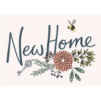 Floral Illustration With Bees New Home Card, Standard Size By Moonpig