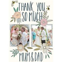 Wedding Card - Thanks Mum And Dad Traditional Flowers Bumblebee Photo Upload, Giant Size By Moonpig