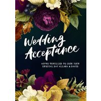 Belles Fleurs Floral Wedding Acceptance Personalised Card, Large Size By Moonpig