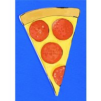 Big Slice Of Pizza On Blue Background Card, Standard Size By Moonpig