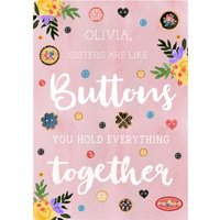 Traditional Illustrated Buttons Hold Everything Together Birthday Card, Large Size By Moonpig