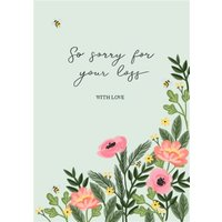 Traditional Floral Sorry For Your Loss Sympathy Card, Standard Size By Moonpig