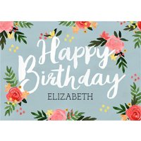 Traditional Illustrated Floral Birthday Card, Large Size By Moonpig