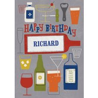 Cheers Drinks With Name Personalised Happy Birthday Card, Standard Size By Moonpig