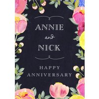Happy Anniversary - Card Floral, Standard Size By Moonpig