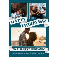 Happy Father's Day To The Best Husband Banner Photo Upload Card , Giant Size By Moonpig