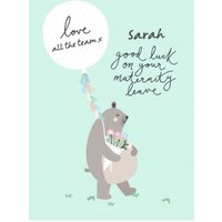 Bear Necessities Maternity Leave Personalised Text Card, Standard Size By Moonpig