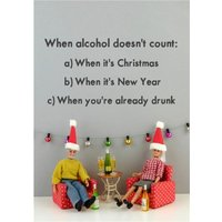 Funny Dolls When Alcohol Doesn't Count Christmas Card, Giant Size By Moonpig