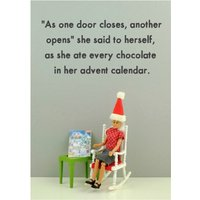 Funny Dolls As One Door Closes Christmas Card, Giant Size By Moonpig