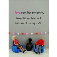 Funny Dolls Take The Rubbish Out Card, Standard Size By Moonpig