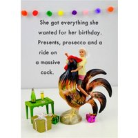 Funny Dolls Presents Prosecco Cockerel Rude Birthday Card, Standard Size By Moonpig