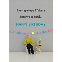 Funny Dolls Even Grumpy People Deserve A Card Happy Birthday, Standard Size By Moonpig