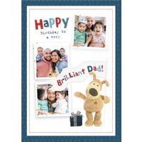 Cute Boofle Happy Birthday To A Very Brilliant Dad Photo Upload Card, Large Size By Moonpig