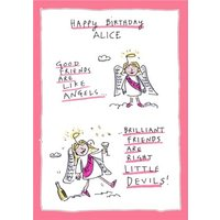 Funny Birthday Card - Good Friends Angels Best Devils, Large Size By Moonpig