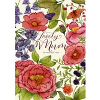 Mother's Day Card - Lovely Mum Floral Card, Standard Size By Moonpig