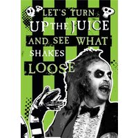 Beetlejuice Retro Let's Turn Up The Juice Birthday Card, Standard Size By Moonpig