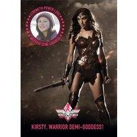 Wonder Woman Warrior Personalised Photo Upload Birthday Card, Large Size By Moonpig