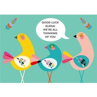 Three Birds Personalised Text Good Luck Card, Large Size By Moonpig
